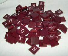 set of 100 Scrabble Tiles Maroon red Burgundy Vintage Letters Arts and Crafts