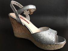 Prada silver glitter cork espadrille wedge sandal shoe $650 Size 6