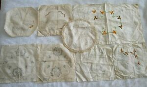 BUNDLE 8 doilies Gloria Vintage Stamped linen duchess set embroidery started