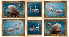 "Fabric Qt ~ Splendid Swans ~ J Q Licensing Panel 24"" X 45"""