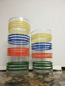 2 Vtg Libbey Anchor Hocking? Glass Stripe Tumblers Blue Red Yellow Green