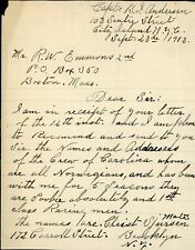 America's Cup Yacht Resolute 1913 Letters Captain Crew References Barr Reliance?