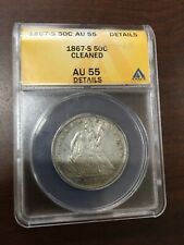 1867 S SEATED HALF DOLLAR ANACS AU-55 DETAILS - CLEANED - ABOUT UNCIRCULATED 50C