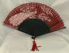 Antique Japanese Hand Fan Birds Peacock Landscape Painted Red Fabric Wooden Art
