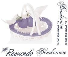 BOMBONIERA Made in Italy CESTINO OVALE in PORCELLANA LILLA-BIANCA COLOMBE CALLE