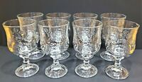 8 Anchor Hocking Savannah Clear Glass Heavy Water Goblets Embossed Rose Flower