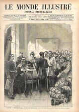 Bureau du Comité Slave pour la Serbie à Saint-Petersbourg en Russie GRAVURE 1876