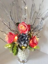 Artificial Flowers Pink & Silver Roses In Silver Sparkle Vase Lights Up