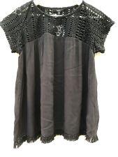 NEW M&S Black Size 8 EU 36 Top Blouse Crochet Detail Loose Fit Smock Tassles