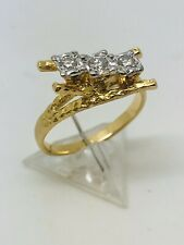 18ct yellow gold 15 point 3 Stone Diamond ring size L 1/2 weight 4.02 grams