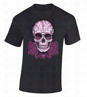 Pink Roses Sugar Skull T-SHIRT Day Of Dead Dia De Los Muertos Gothic Death Shirt
