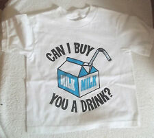 "WHITE SPENCER'S 'CAN I BUY YOU A MILK DRINK' T-SHIRT 100% COTTON  12"" 3T"