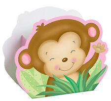 8X Rosa Baby Shower Cajas para Detalles Mono Invitar Bolsa Fiesta