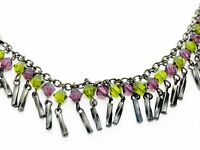 "Signed CHERYL REIS green purple Necklace Vintage ESTATE Jewelry 15 1/2"" - 19"""