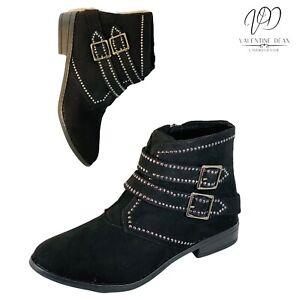 Rocket Dog Margelct Women's Boots Black Studd Buckle Faux Suede Size 6 Uk