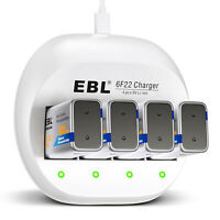 4-Slots 9V Charger 9-Volt Li-ion Rechargeable Battery Charger for Lithium 6F22