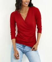 Milan Kiss Women's V-Neck Three-Quarter Sleeve Ribbed Surplice Top (Red, L)