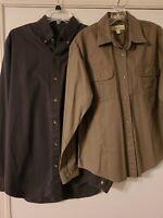 Lot Of 2 Men's Long Sleeve Cotton Shirts Eddie Bauer Button Down, Cabela's Sz M