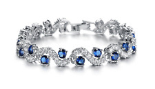 18K 18ct White gold GF Lab Diamond Accent & Sapphire Tennis Soild bracelet 6.7'