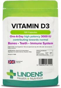 Vitamin D3 3000IU Strong Bones Immune Health 120 Capsules Lindens