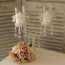 Métal Bougeoir Mariage Perle Cristal Pièce Centre Table Shabby candélabres