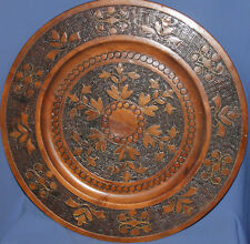 VINTAGE LARGE HAND MADE FLORAL PYROGRAPHY WOOD PLATE/TRAY