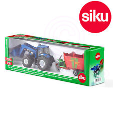 Siku 1988 New Holland Traactor Front Loader + Strautmann Fodder Mixer 1:50 Scale