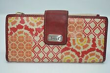 Fossil Red Orange Leather Large Slim Wallet Organizer Clutch