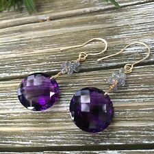 Purple Amethyst Fine Quartz  And Sapphires Gold Filled Wire Wrapped Earrings