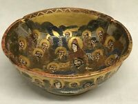 Satsuma Meiji Earthenware Bowl Painted With Immortals