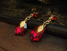 Elegant Vintage Deco Style Ruby Crystal with Gold Leaf Drop Pierced Earrings