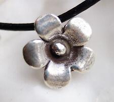 Klein Silber Anhänger Ø 1,7 cm Blume Blüte 3D Floral Rund  Verspielt Modern Glan