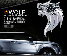 1pair,Wolf head 3D Metal Auto Car Motorcycle Logo Sticker Badge Emblem Decals ~