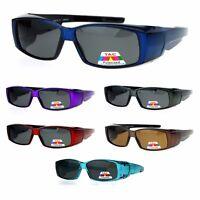 Unisex Polarized Rectangular 55mm Over the Glasses Fit Over Sunglasses