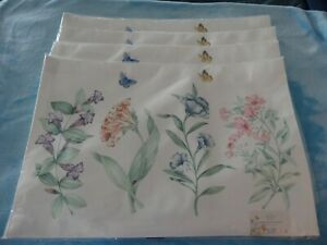 """Lenox Butterfly Meadow Collection Set Of 4 Placemats-13"""" X 19""""-New"""