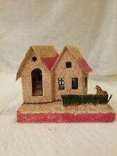 Vtg Putz Hse W Thatched Fence Cut,framed Windows, 2 Story