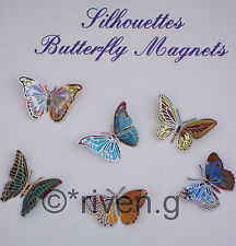 BUTTERFLY FRIDGE MAGNETS x 6@Handmade Glass Figures@Collectable Kitchen Set@SAVE