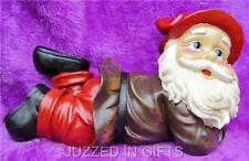 CUTE GARDEN GNOME LYING DOWN RESTING SLEEPING STATUE