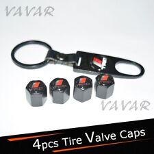 4pcs T.R+D Logo Emblem Black Car Wheel Tire Valve Dust Stems Air Caps Keychain