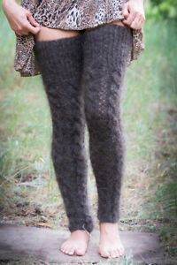 Gray Gaiters Ladies Knit High Knee Leg Warmers cashmere goat down mohair warm