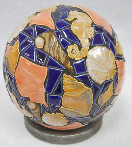 "SEA SHELL Mosaic Sculpture Accent Ball Tile Art Ceramic Gazing Sphere Blue 6"""