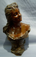 Beautiful Antique Art Nouveau Two Tone Patinated Bronze Bust of a Young Girl