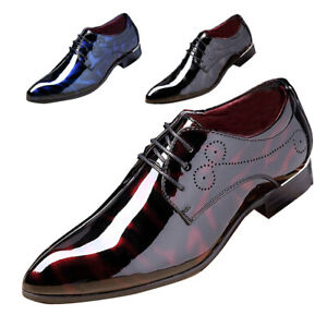 Men's Formal Patent Leather Dress Tuxedo Shoe Pointed Toe Business Shoe Oxfords