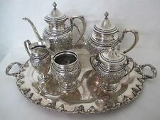 GORHAM FRANK WHITING AND ELMORE STERLING HAND CHASED LILLY REPOUSSE TEA SET 6PC