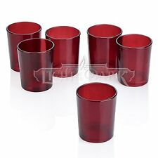 Red Glass Round Votive Candle Holders Set of 12