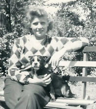 Vintage Boston Terrier Park Bench Smile Dog Womans Best Friend Fun Love Photo