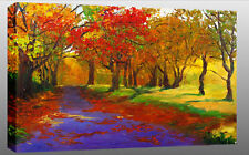 LARGE AUTUMN FOREST PAINTING CANVAS WALL PICTURE A1