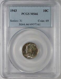 1943 10c Mercury Silver Dime Coin PCGS MS66