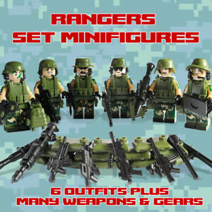 Ranger Special Forces Team Minifigures Army Military + Bonus Weapons & Gears