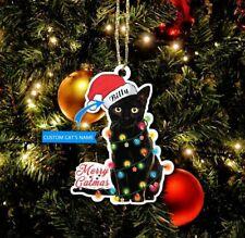 PERSONALIZED MERRY CATMAS SANTA HAT BLACK CAT CHRISTMAS ORNAMENT